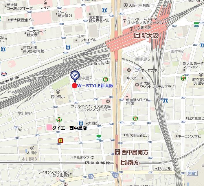 W-STYLE新大阪地図